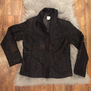 Chico's Black Embroidered Jacket Brown Accents